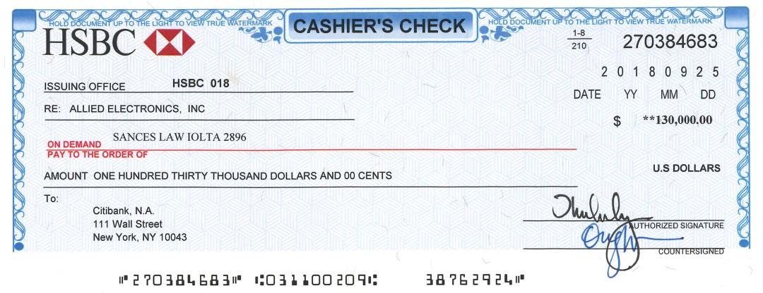 Fake Cashiers Check